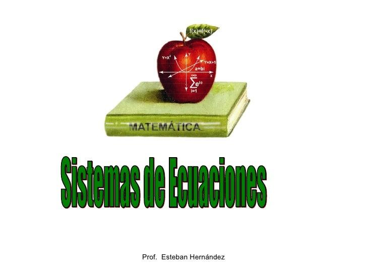Prof.  Esteban Hernández Sistemas de Ecuaciones