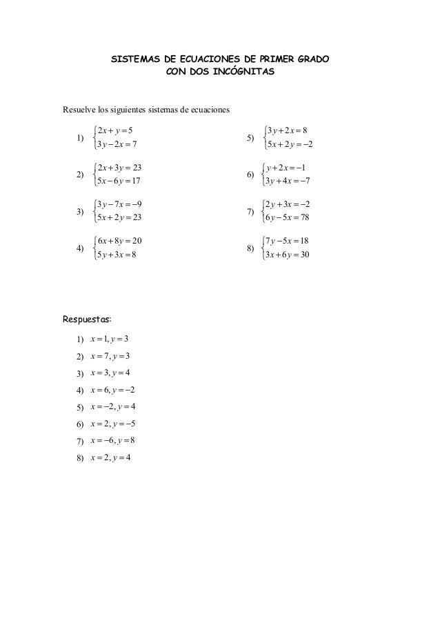 SISTEMAS DE ECUACIONES DE PRIMER GRADO CON DOS INCÓGNITAS  Resuelve los siguientes sistemas de ecuaciones 1)  2 x + y = 5...