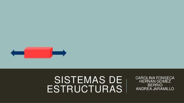 SISTEMAS DE ESTRUCTURAS CAROLINA FONSECA HERNAN GOMEZ BERRIO ANDREA JARAMILLO