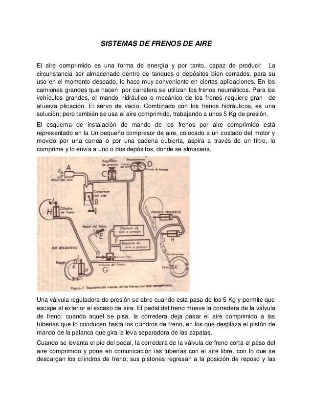 SISTEMAS DE FRENOS DE AIRE El aire comprimido es una forma de energía y por tanto, capaz de producir La circunstancia ser ...
