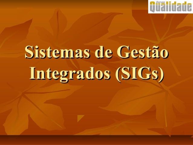 Sistemas de GestãoSistemas de Gestão Integrados (SIGs)Integrados (SIGs)