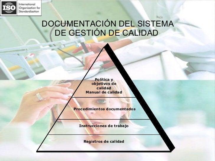 DOCUMENTACIÓN DEL SISTEMA  DE GESTIÓN DE CALIDAD  Política y objetivos de calidad Manual de calidad Procedimientos documen...