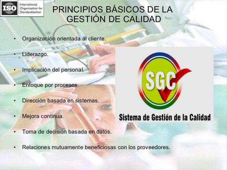 PRINCIPIOS BÁSICOS DE LA  GESTIÓN DE CALIDAD <ul><li>Organización orientada al cliente. </li></ul><ul><li>Liderazgo. </li>...