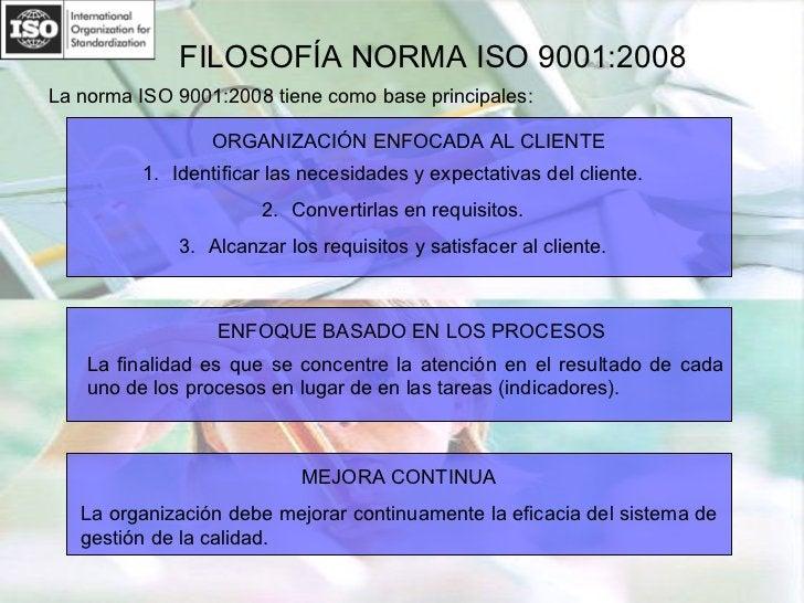 FILOSOFÍA NORMA ISO 9001:2008 <ul><li>La norma ISO 9001:2008 tiene como base principales: </li></ul>ORGANIZACIÓN ENFOCADA ...