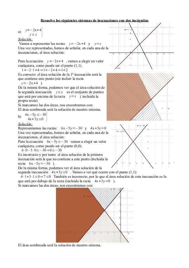 Resuelve los siguientes sistemas de inecuaciones con dos incógnitas  }  y<−2x+ 4 y≥ x Solución: Vamos a representar las re...