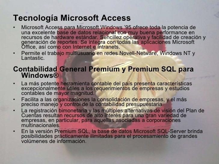 <ul><li>Tecnología Microsoft Access </li></ul><ul><li>Microsoft Access para Microsoft Windows '95 ofrece toda la potencia ...