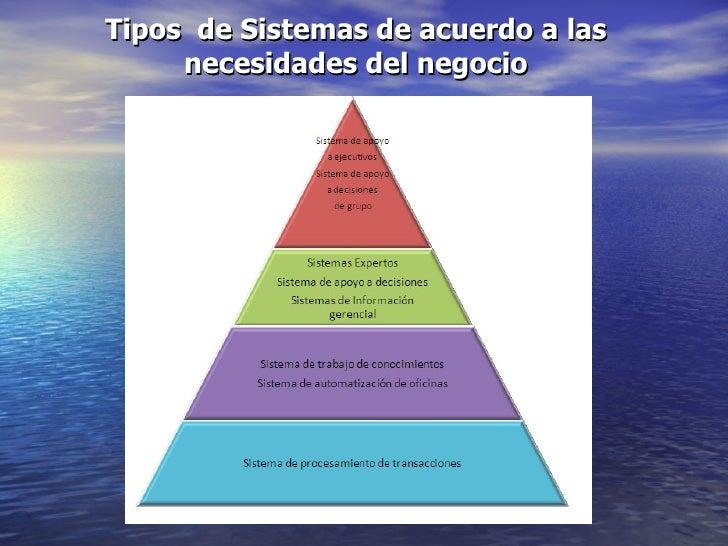 Tipos  de Sistemas de acuerdo a las necesidades del negocio