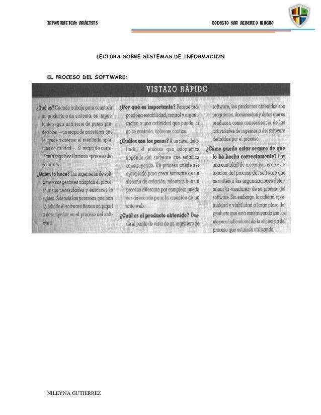 INFORMATICA: ANÁLISIS                                COLEGIO SAN ALBERTO MAGNO                    LECTURA SOBRE SISTEMAS D...
