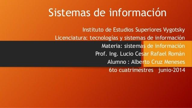 Sistemas de información Instituto de Estudios Superiores Vygotsky Licenciatura: tecnologías y sistemas de información Mate...