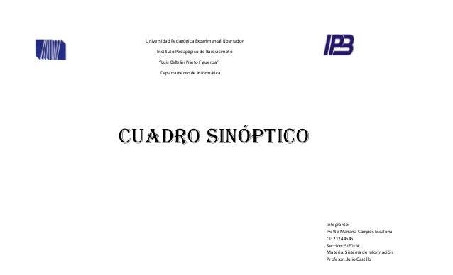 "Universidad Pedagógica Experimental Libertador Instituto Pedagógico de Barquisimeto ""Luis Beltrán Prieto Figueroa"" Departa..."