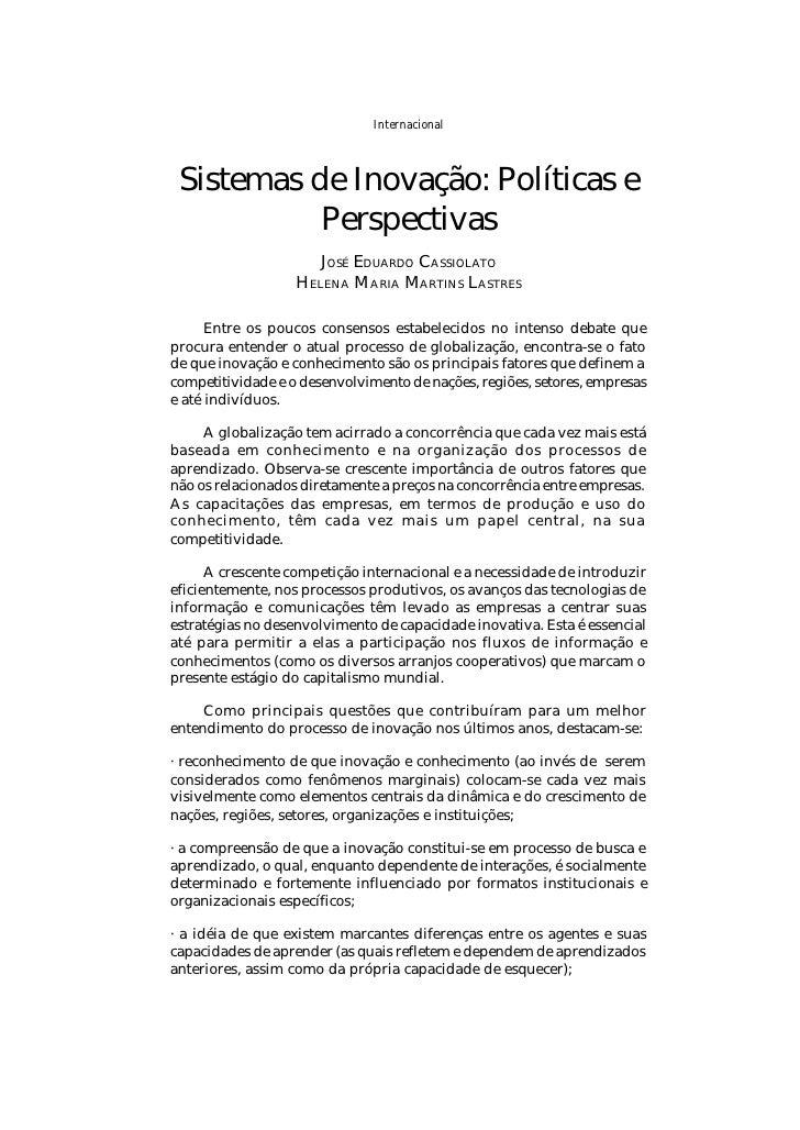 Internacional PARCERIAS ESTRATÉGICAS - número 8 - Maio/2000                          237    Sistemas de Inovação: Política...