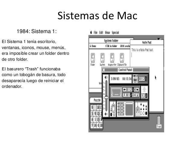 Sistemas de Mac1984: Sistema 1:El Sistema 1 tenía escritorio,ventanas, iconos, mouse, menús,era imposible crear un folder ...