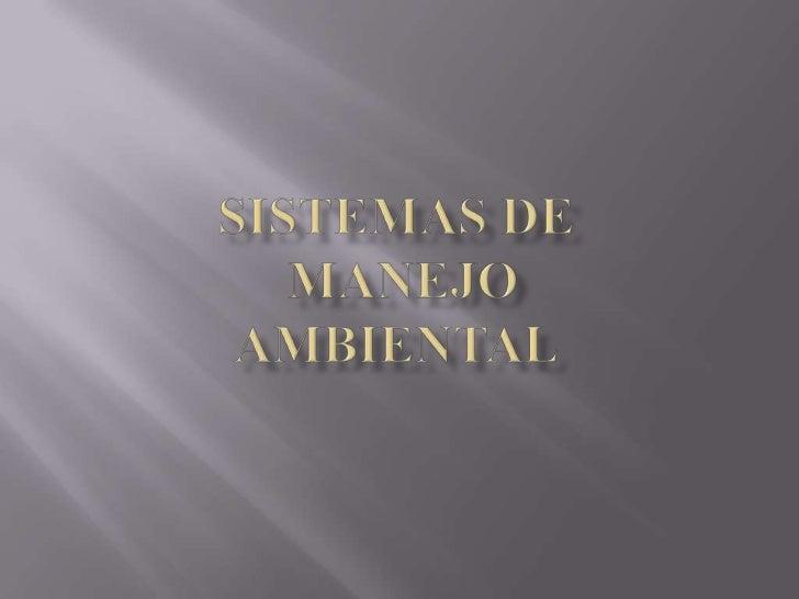 SISTEMAS DE MANEJO AMBIENTAL<br />