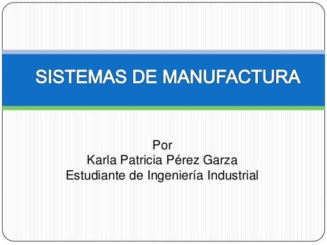 Por  Karla Patricia Pérez Garza  Estudiante de Ingeniería Industrial