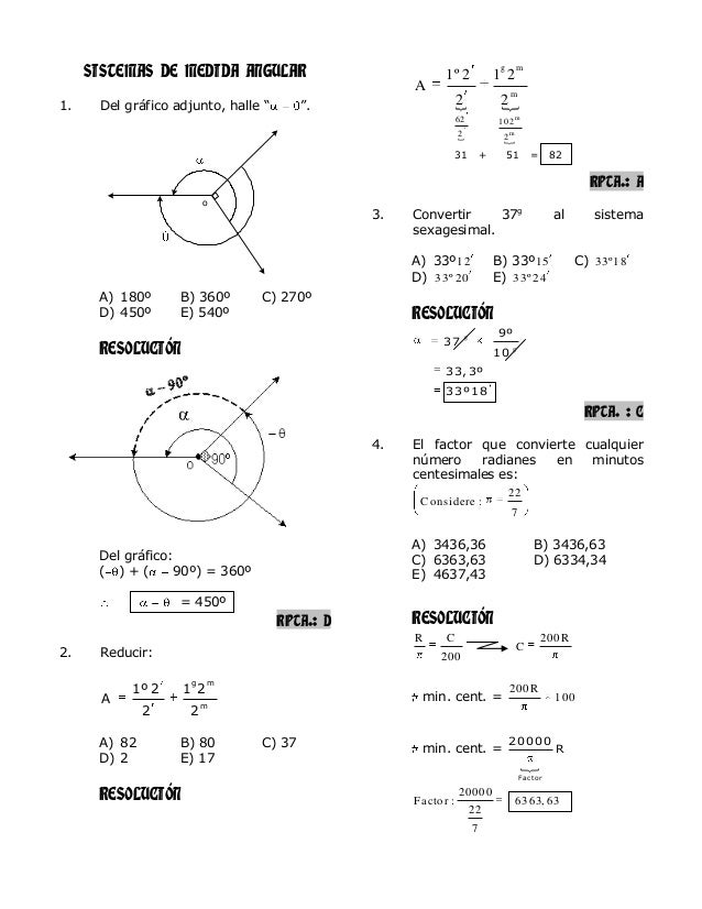 """SISTEMAS DE MEDIDA ANGULAR 1. Del gráfico adjunto, halle """" """". A) 180º B) 360º C) 270º D) 450º E) 540º RESOLUCIÓN Del gráfi..."""