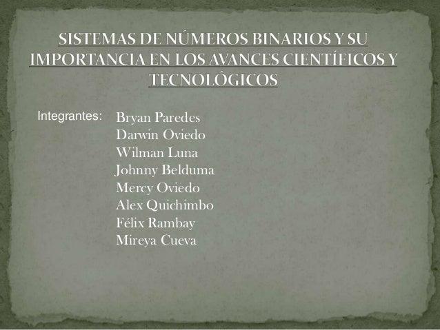 Integrantes: Bryan Paredes Darwin Oviedo Wilman Luna Johnny Belduma Mercy Oviedo Alex Quichimbo Félix Rambay Mireya Cueva