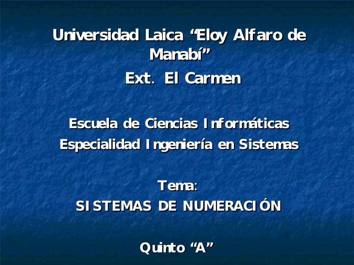 """Universidad Laica """"Eloy Alfaro de Manabí"""" Ext. El Carmen Escuela de Ciencias Informáticas Especialidad Ingeniería en Siste..."""