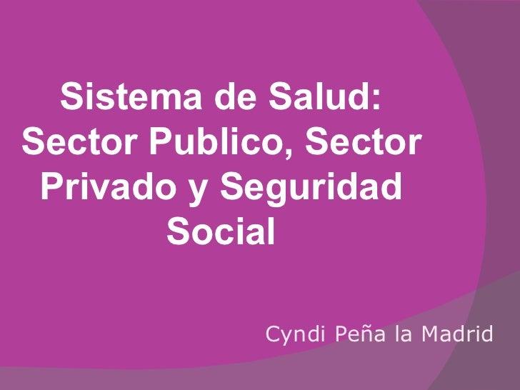 Sistema de Salud: Sector Publico, Sector Privado y Seguridad Social Cyndi Peña la Madrid