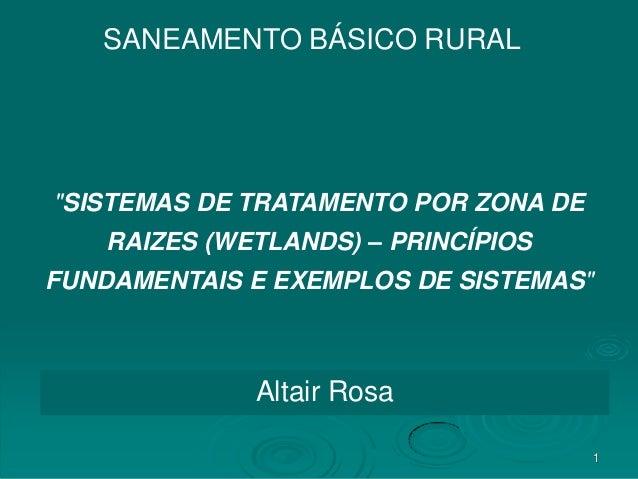 """SANEAMENTO BÁSICO RURAL  """"SISTEMAS DE TRATAMENTO POR ZONA DE RAIZES (WETLANDS) – PRINCÍPIOS  FUNDAMENTAIS E EXEMPLOS DE SI..."""