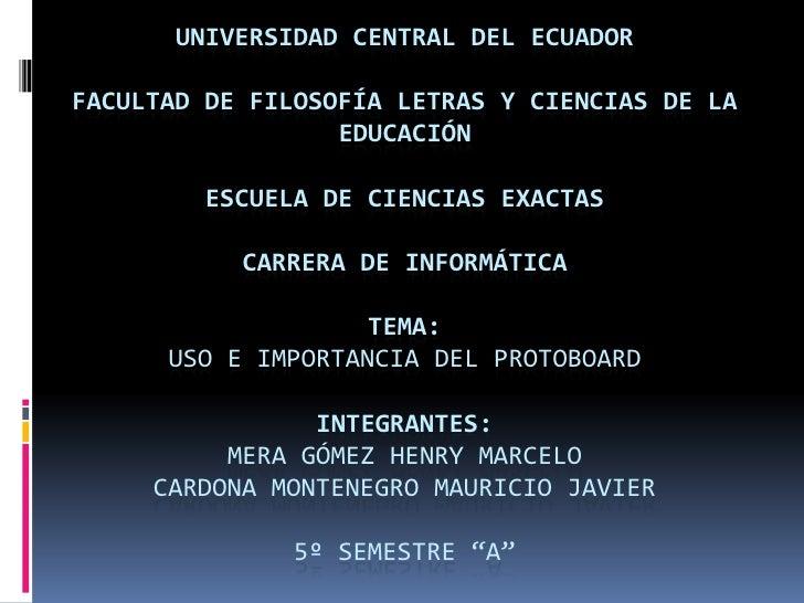 UNIVERSIDAD CENTRAL DEL ECUADORFACULTAD DE FILOSOFÍA LETRAS Y CIENCIAS DE LA                  EDUCACIÓN         ESCUELA DE...