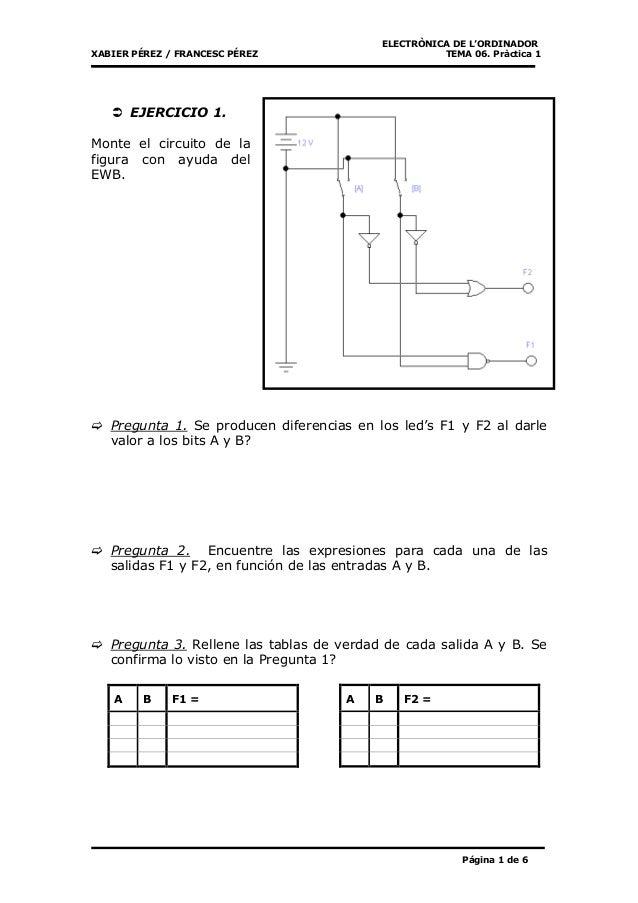 ELECTRÒNICA DE L'ORDINADOR XABIER PÉREZ / FRANCESC PÉREZ TEMA 06. Pràctica 1 Página 1 de 6 EJERCICIO 1. Monte el circuito ...