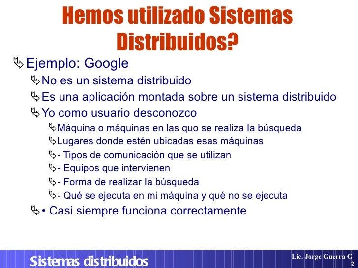 Sistemas Distribuidos. Diseño e Implementacion Slide 2