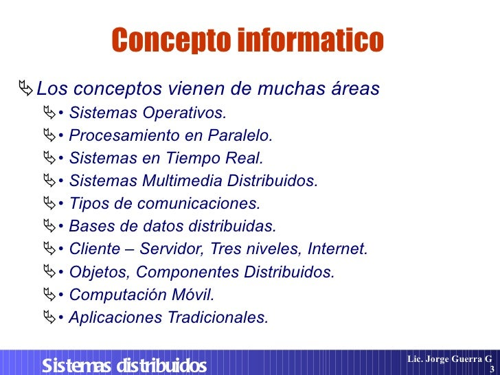 Sistemas Distribuidos. Diseño e Implementacion Slide 3