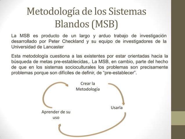 Metodología de los Sistemas Blandos (MSB) Crear la Metodología Usarla Aprender de su uso Esta metodología cuestiona a las ...