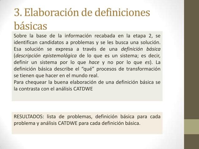 3. Elaboración de definiciones básicas Sobre la base de la información recabada en la etapa 2, se identifican candidatos a...