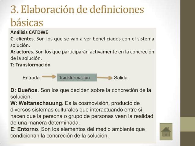 3. Elaboración de definiciones básicas Análisis CATDWE C: clientes. Son los que se van a ver beneficiados con el sistema s...