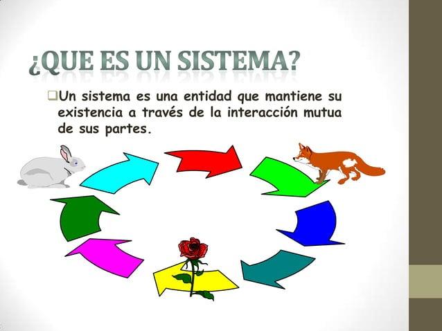 Un sistema es una entidad que mantiene su existencia a través de la interacción mutua de sus partes.