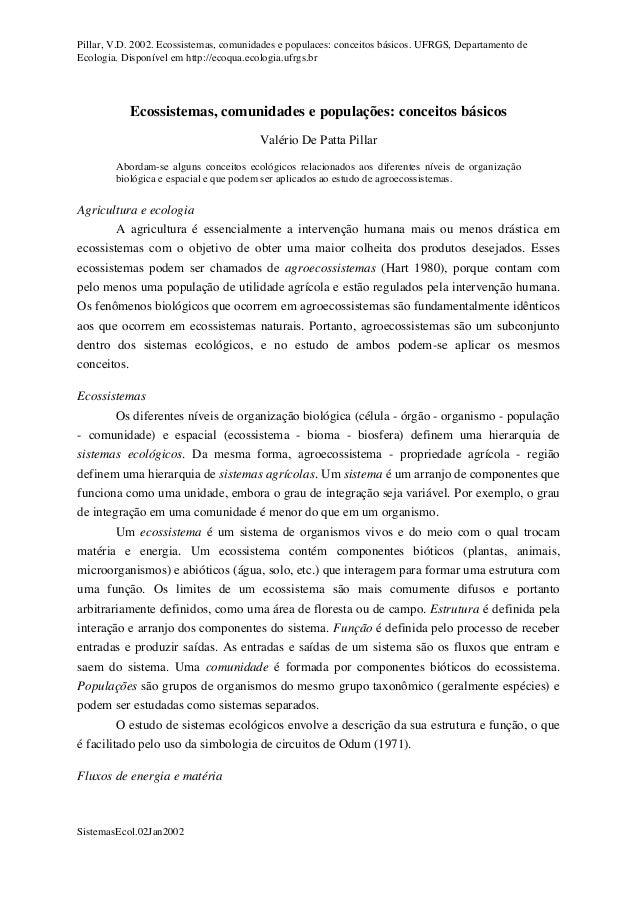 Pillar, V.D. 2002. Ecossistemas, comunidades e populaces: conceitos básicos. UFRGS, Departamento de Ecologia. Disponível e...