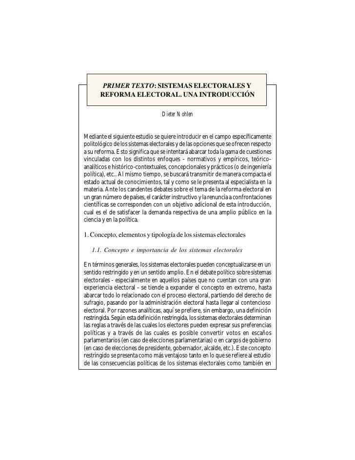 PRIMER TEXTO: SISTEMAS ELECTORALES Y        REFORMA ELECTORAL. UNA INTRODUCCIÓN                                    Dieter ...