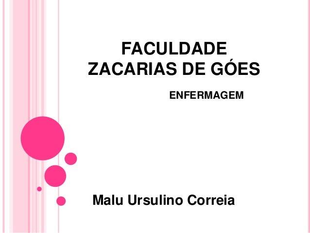 FACULDADE ZACARIAS DE GÓES ENFERMAGEM Malu Ursulino Correia