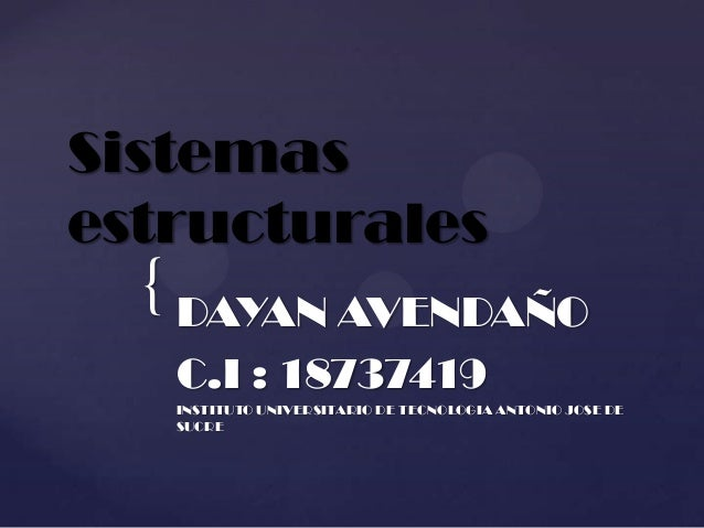 Sistemasestructurales  { DAYAN AVENDAÑO   C.I : 18737419   INSTITUTO UNIVERSITARIO DE TECNOLOGIA ANTONIO JOSE DE   SUCRE