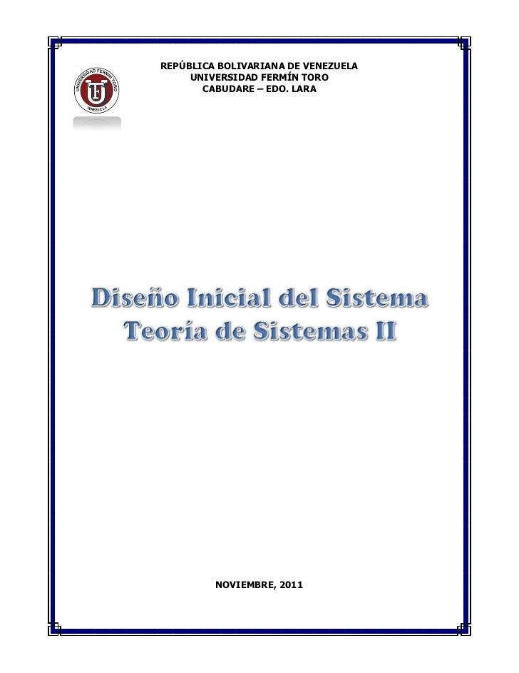 REPÚBLICA BOLIVARIANA DE VENEZUELA     UNIVERSIDAD FERMÍN TORO       CABUDARE – EDO. LARA         NOVIEMBRE, 2011