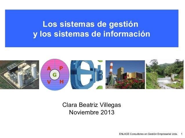 Los sistemas de gestión y los sistemas de información  P  A G V  H  Clara Beatriz Villegas Noviembre 2013  ENLACE Consulto...