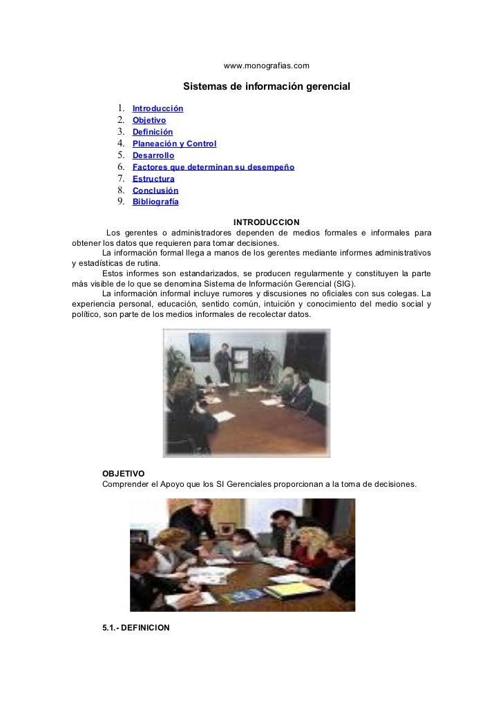 www.monografias.com                             Sistemas de información gerencial           1.   Introducción           2....