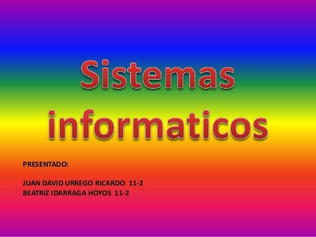 PRESENTADO: JUAN DAVID URREGO RICARDO 11-2 BEATRIZ IDARRAGA HOYOS 11-2