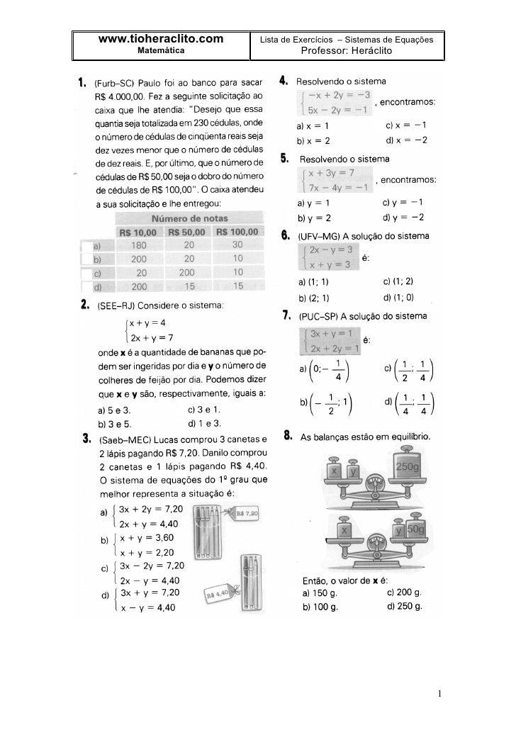 www.tioheraclito.com   Lista de Exercícios – Sistemas de Equações       Matemática                Professor: Heráclito    ...