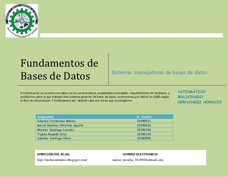 Fundamentos deBases de Datos                                                        Sistemas manejadores de bases de datos...