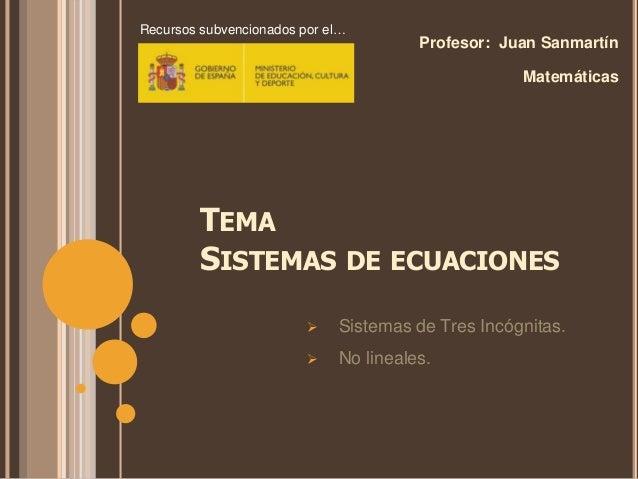 TEMA SISTEMAS DE ECUACIONES Profesor: Juan Sanmartín Matemáticas  Sistemas de Tres Incógnitas.  No lineales. Recursos su...
