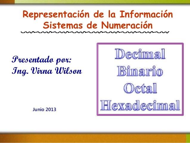 Representación de la Información Sistemas de Numeración Presentado por: Ing. Virna Wilson Junio 2013
