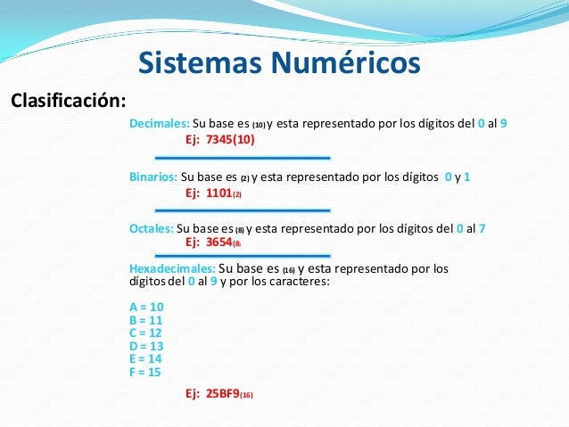 Clasificación: Decimales: Su base es (10) y esta representado por los dígitos del 0 al 9 Ej: 7345(10) Binarios: Su base es...
