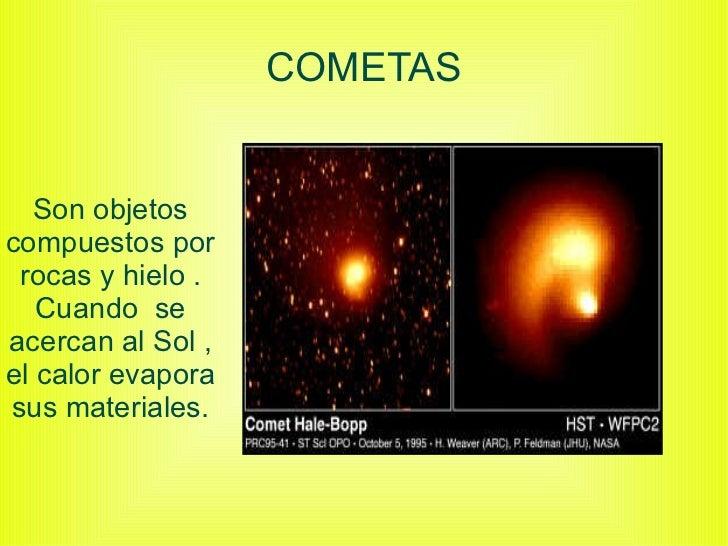 COMETAS Son objetos compuestos por rocas y hielo . Cuando  se acercan al Sol , el calor evapora sus materiales.