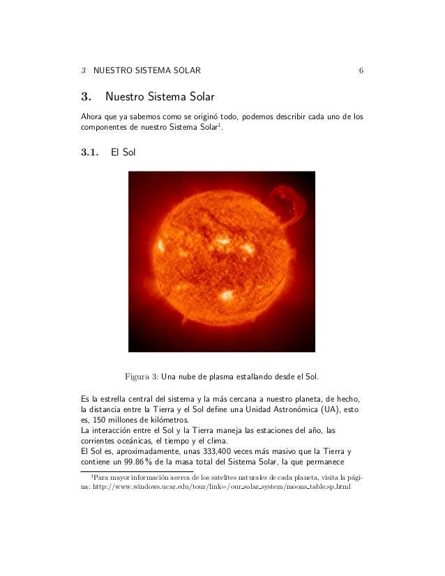 3 NUESTRO SISTEMA SOLAR 6 3. Nuestro Sistema Solar Ahora que ya sabemos como se origin´o todo, podemos describir cada uno ...