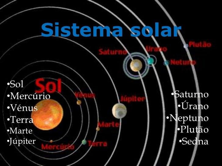 Sistema solar<br />Sol<br />Mercúrio <br />Vénus <br />Terra <br />Marte<br />Júpiter<br />Saturno<br />Úrano <br...