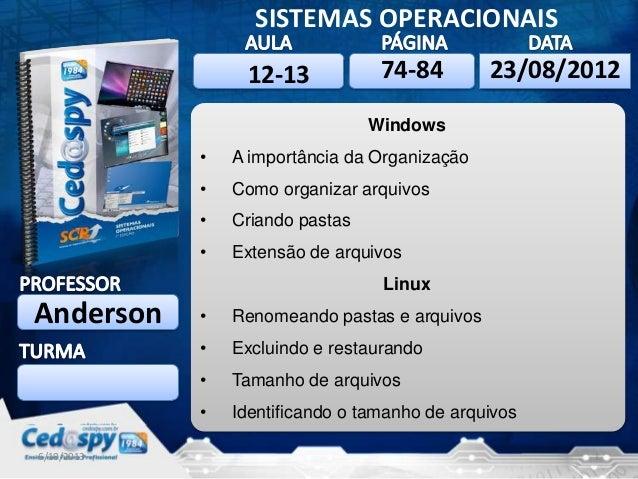 6/10/2013 1 SISTEMAS OPERACIONAIS Anderson 6/10/201323/08/2012 Windows • A importância da Organização • Como organizar arq...