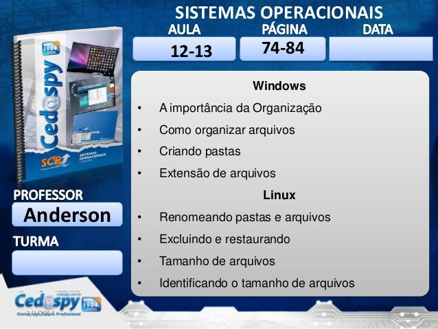 SISTEMAS OPERACIONAIS 12-13  74-84  2/1/2014  Windows •  A importância da Organização  •  Como organizar arquivos  •  Cria...