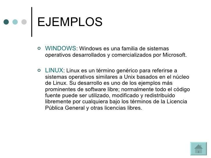 EJEMPLOS <ul><li>WINDOWS : Windows es una familia de sistemas operativos desarrollados y comercializados por Microsoft.  <...